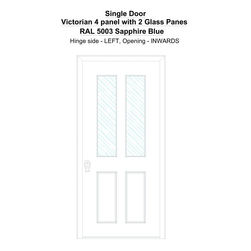 Sd Victorian 4 Panel With 2 Glass Panes Ral 5003 Sapphire Blue Security Door