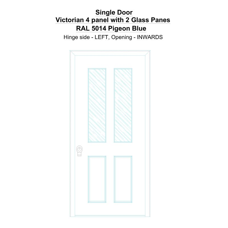 Sd Victorian 4 Panel With 2 Glass Panes Ral 5014 Pigeon Blue Security Door