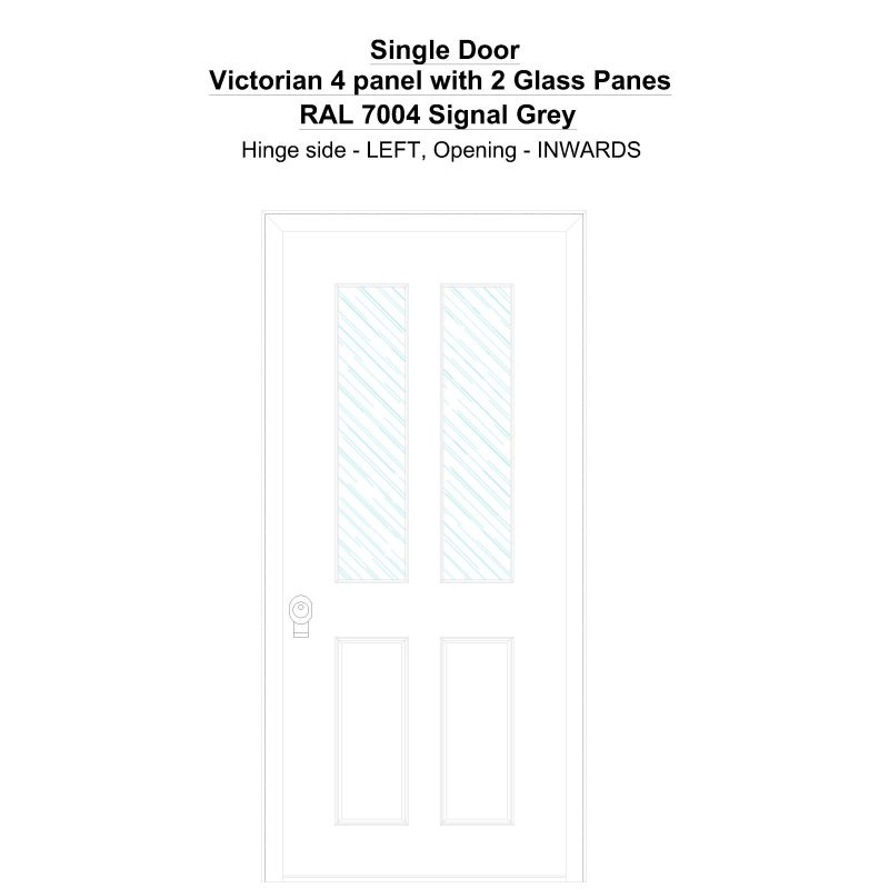 Sd Victorian 4 Panel With 2 Glass Panes Ral 7004 Signal Grey Security Door