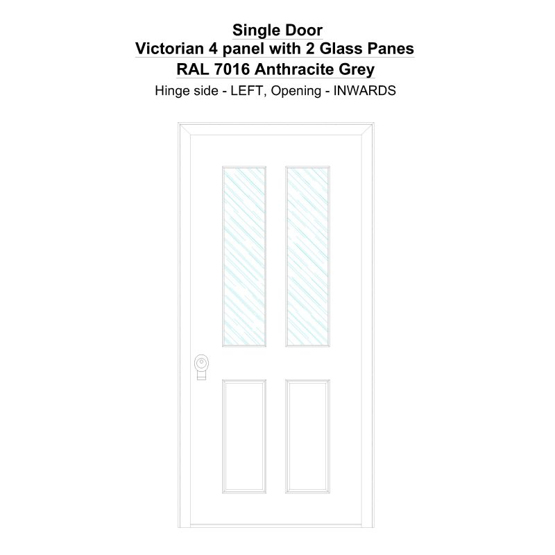 Sd Victorian 4 Panel With 2 Glass Panes Ral 7016 Anthracite Grey Security Door