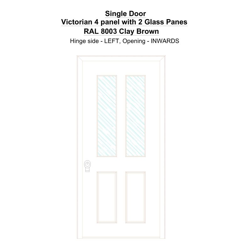 Sd Victorian 4 Panel With 2 Glass Panes Ral 8003 Clay Brown Security Door