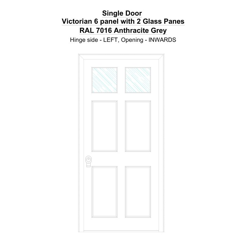 Sd Victorian 6 Panel With 2 Glass Panes Ral 7016 Anthracite Grey Security Door