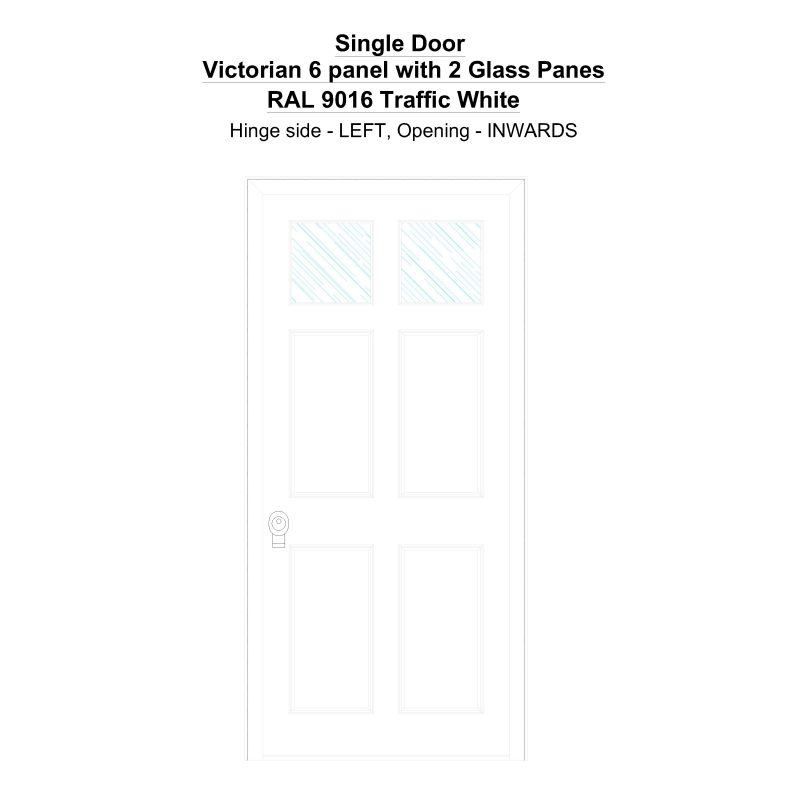 Sd Victorian 6 Panel With 2 Glass Panes Ral 9016 Traffic White Security Door