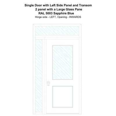 Sd1spt(left) 2 Panel With A Large Glass Pane Ral 5003 Sapphire Blue Security Door