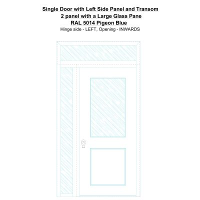 Sd1spt(left) 2 Panel With A Large Glass Pane Ral 5014 Pigeon Blue Security Door