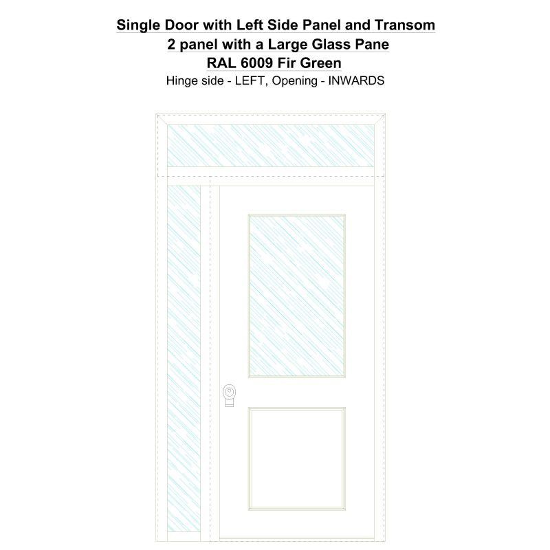 Sd1spt(left) 2 Panel With A Large Glass Pane Ral 6009 Fir Green Security Door
