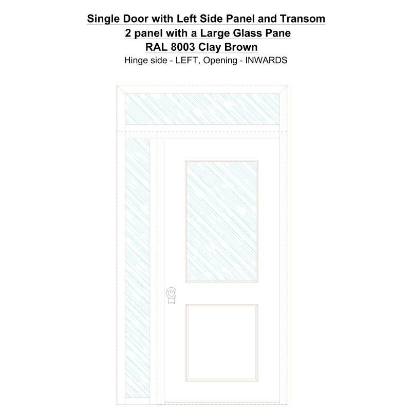 Sd1spt(left) 2 Panel With A Large Glass Pane Ral 8003 Clay Brown Security Door