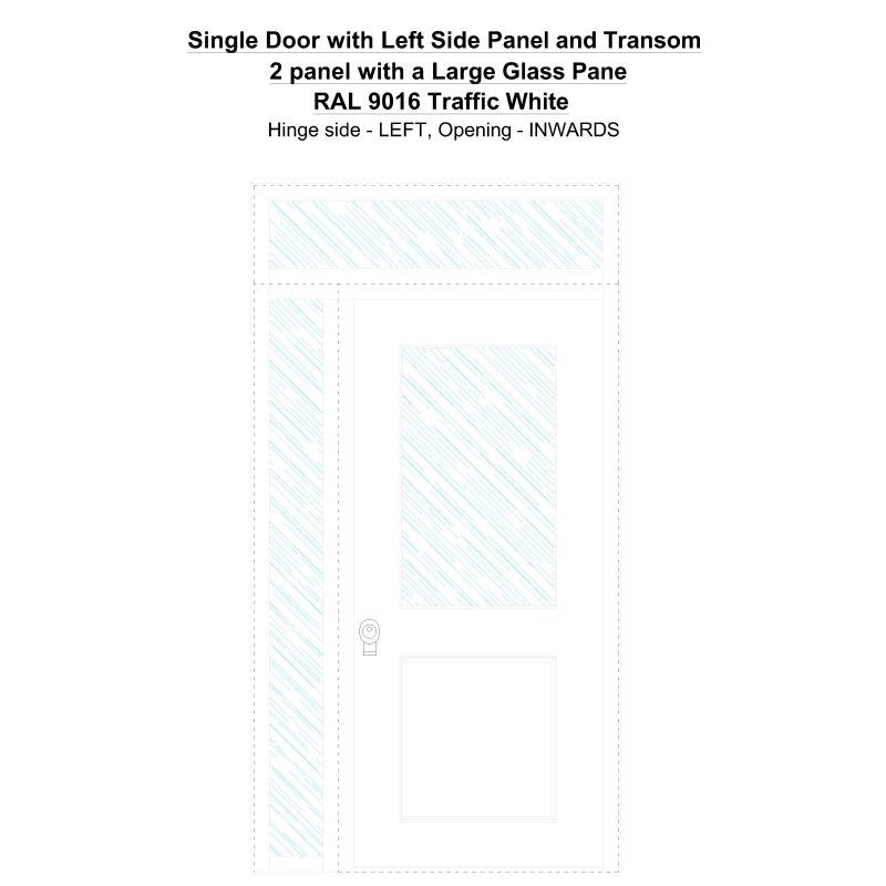 Sd1spt(left) 2 Panel With A Large Glass Pane Ral 9016 Traffic White Security Door