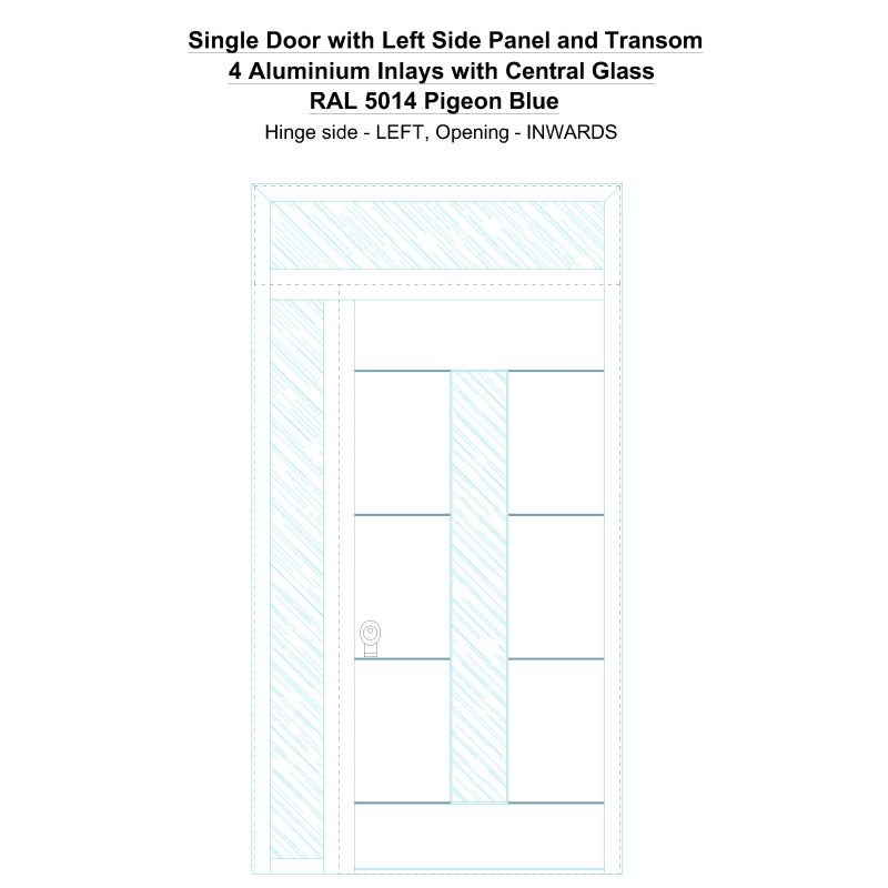Sd1spt(left) 4 Aluminium Inlays With Central Glass Ral 5014 Pigeon Blue Security Door