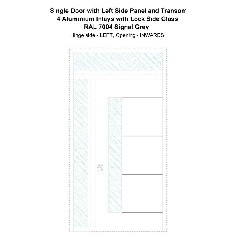 Sd1spt(left) 4 Aluminium Inlays With Lock Side Glass Ral 7004 Signal Grey Security Door