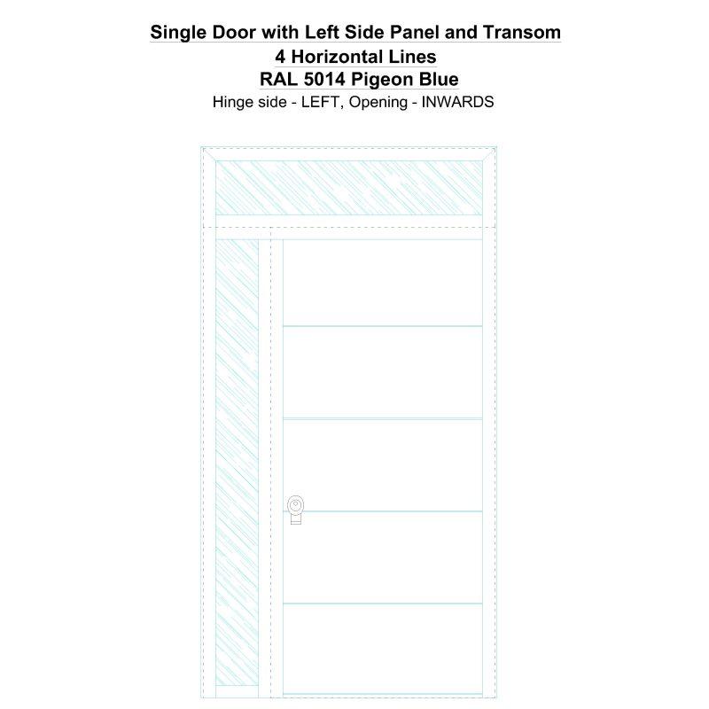 Sd1spt(left) 4 Horizontal Lines Ral 5014 Pigeon Blue Security Door