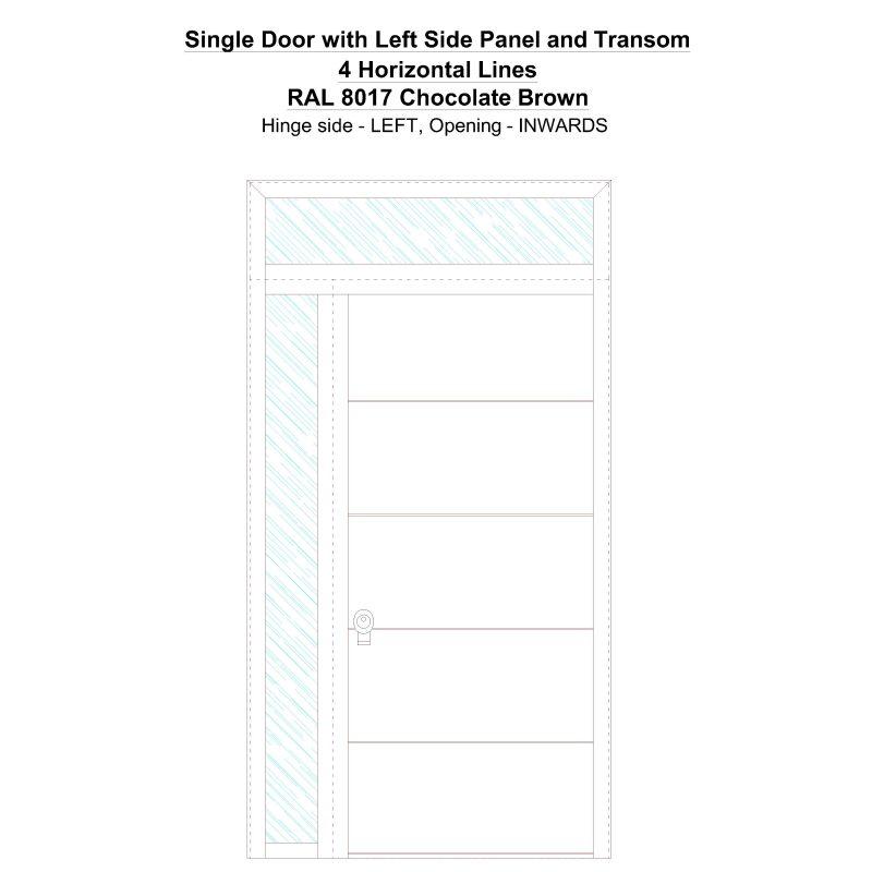 Sd1spt(left) 4 Horizontal Lines Ral 8017 Chocolate Brown Security Door