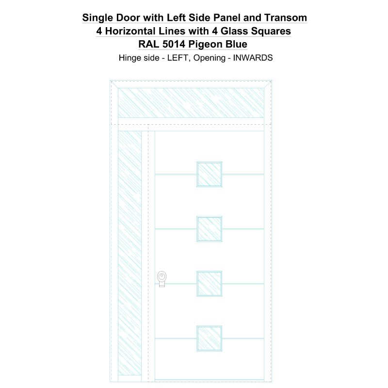 Sd1spt(left) 4 Horizontal Lines With 4 Glass Squares Ral 5014 Pigeon Blue Security Door
