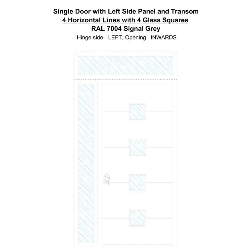 Sd1spt(left) 4 Horizontal Lines With 4 Glass Squares Ral 7004 Signal Grey Security Door