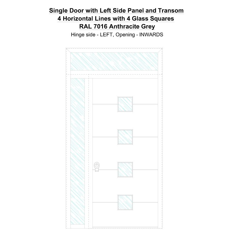 Sd1spt(left) 4 Horizontal Lines With 4 Glass Squares Ral 7016 Anthracite Grey Security Door