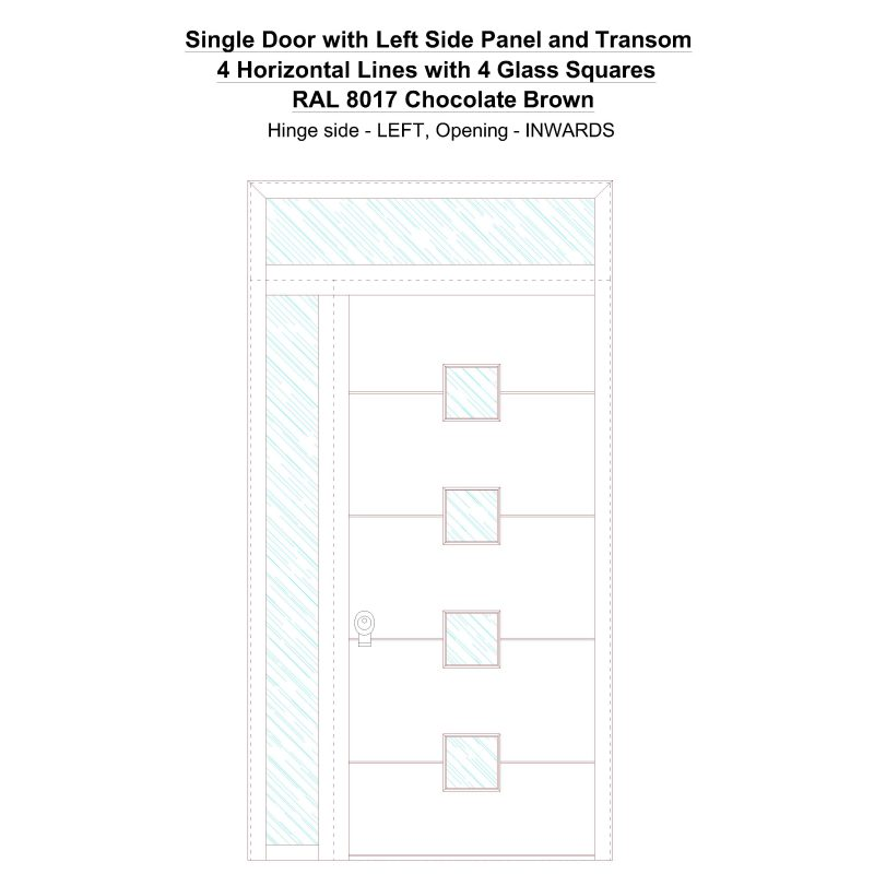 Sd1spt(left) 4 Horizontal Lines With 4 Glass Squares Ral 8017 Chocolate Brown Security Door