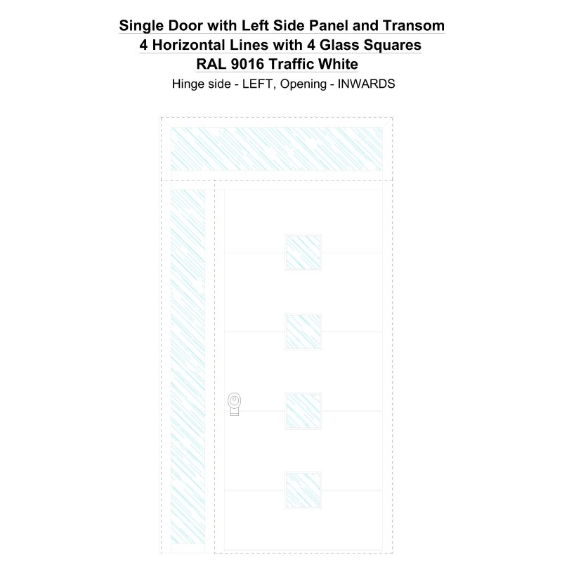 Sd1spt(left) 4 Horizontal Lines With 4 Glass Squares Ral 9016 Traffic White Security Door