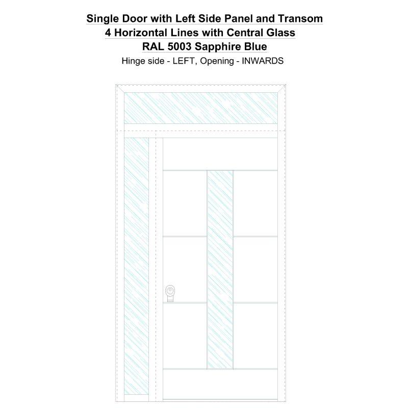 Sd1spt(left) 4 Horizontal Lines With Central Glass Ral 5003 Sapphire Blue Security Door