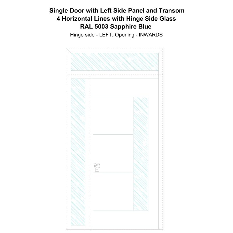 Sd1spt(left) 4 Horizontal Lines With Hinge Side Glass Ral 5003 Sapphire Blue Security Door