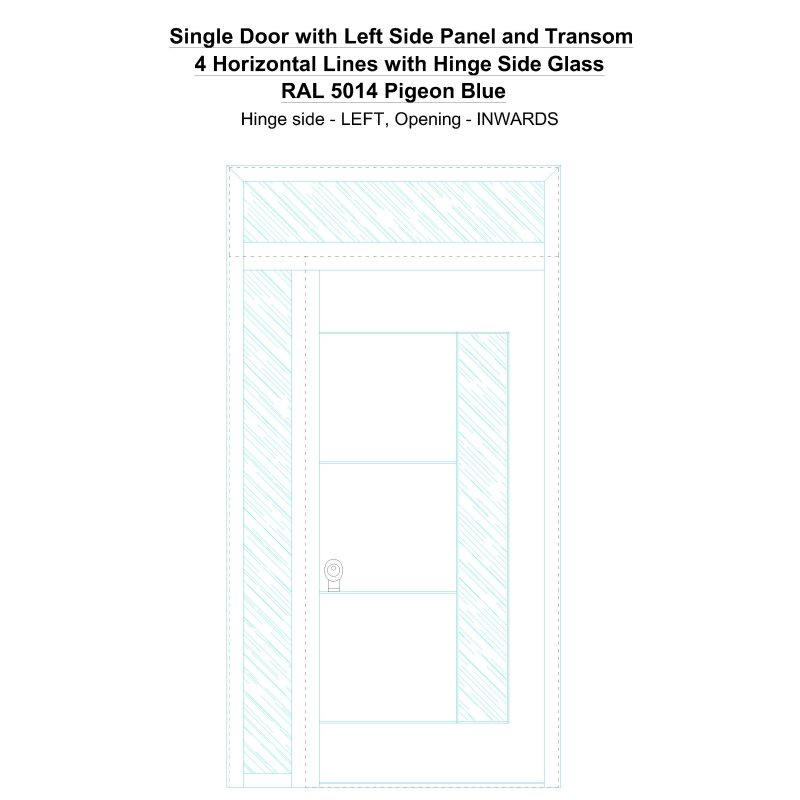 Sd1spt(left) 4 Horizontal Lines With Hinge Side Glass Ral 5014 Pigeon Blue Security Door