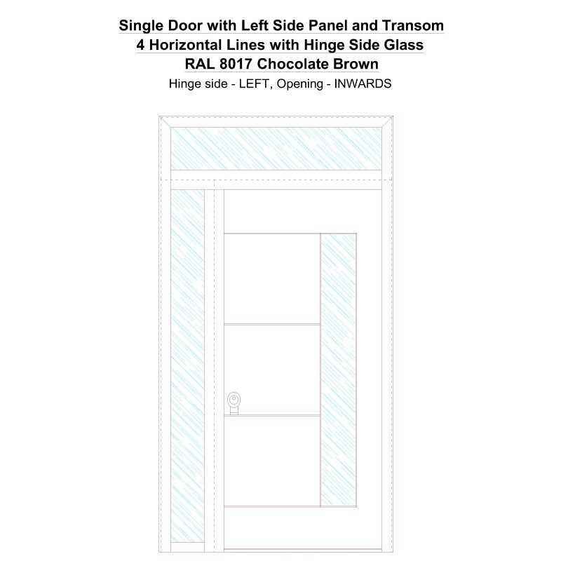 Sd1spt(left) 4 Horizontal Lines With Hinge Side Glass Ral 8017 Chocolate Brown Security Door