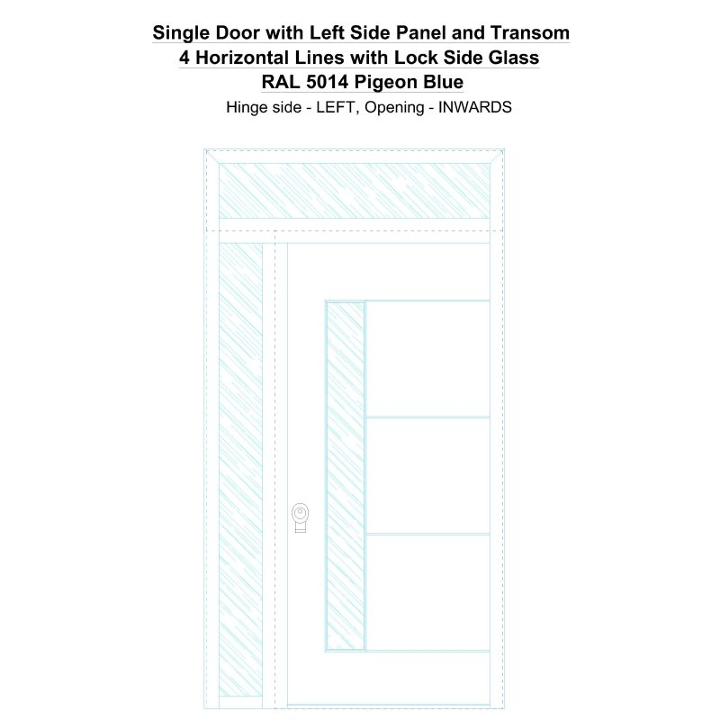Sd1spt(left) 4 Horizontal Lines With Lock Side Glass Ral 5014 Pigeon Blue Security Door