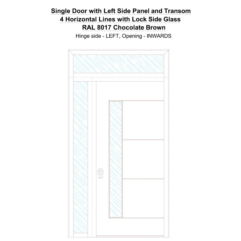 Sd1spt(left) 4 Horizontal Lines With Lock Side Glass Ral 8017 Chocolate Brown Security Door