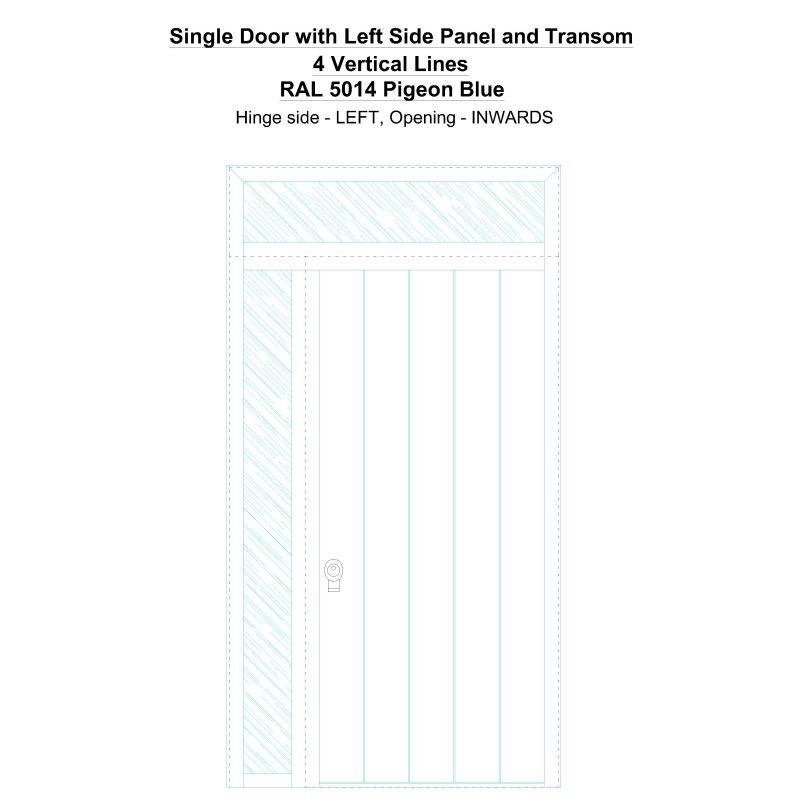 Sd1spt(left) 4 Vertical Lines Ral 5014 Pigeon Blue Security Door