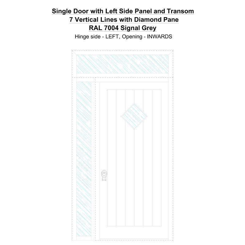 Sd1spt(left) 7 Vertical Lines With Diamond Pane Ral 7004 Signal Grey Security Door