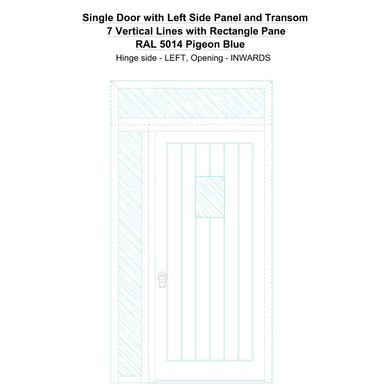Sd1spt(left) 7 Vertical Lines With Rectangle Pane Ral 5014 Pigeon Blue Security Door
