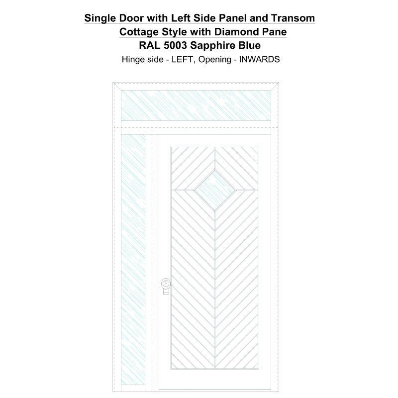 Sd1spt(left) Cottage Style With Diamond Pane Ral 5003 Sapphire Blue Security Door