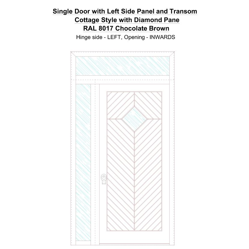 Sd1spt(left) Cottage Style With Diamond Pane Ral 8017 Chocolate Brown Security Door