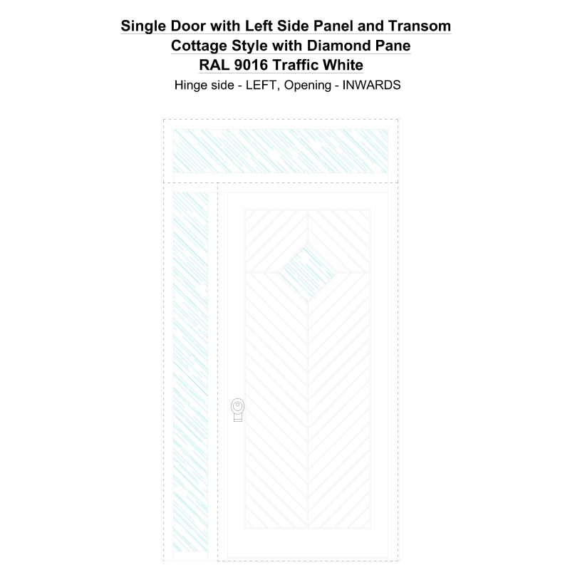 Sd1spt(left) Cottage Style With Diamond Pane Ral 9016 Traffic White Security Door