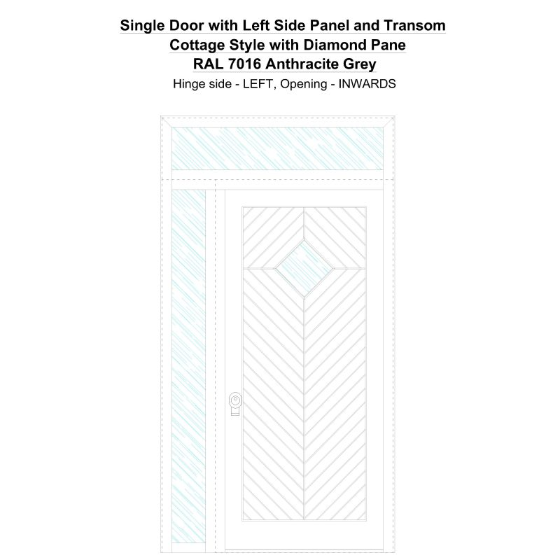 Sd1spt(left) Cottage Style With Diamond Pane Ral7016 Anthracite Grey Security Door