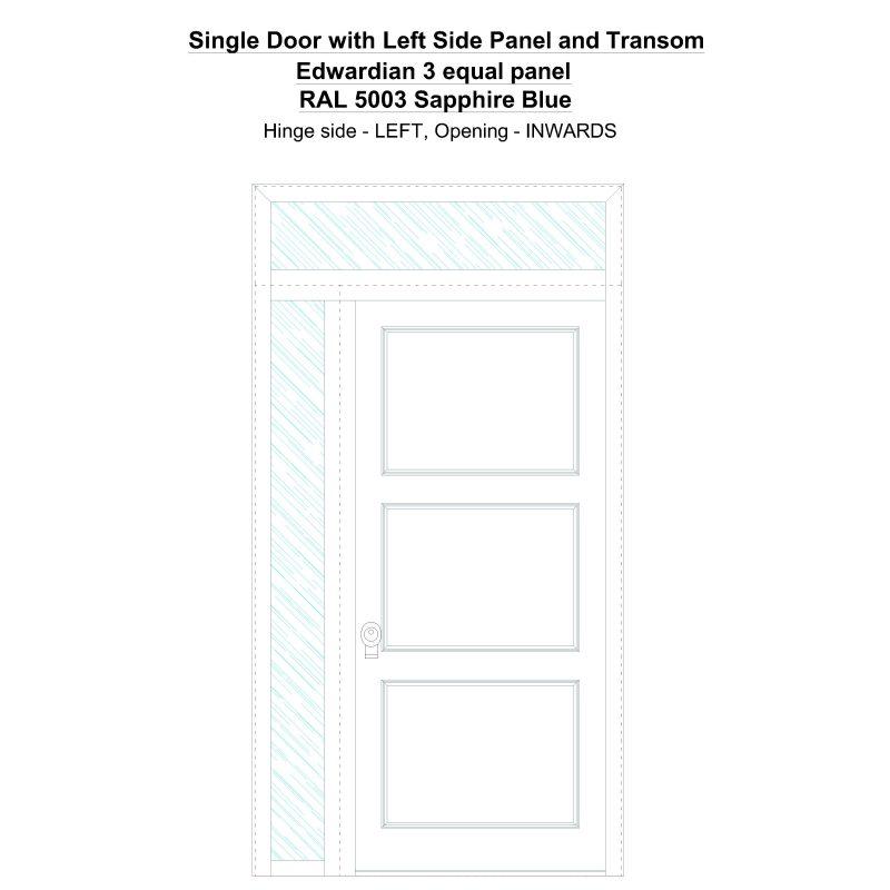 Sd1spt(left) Edwardian 3 Equal Panel Ral 5003 Sapphire Blue Security Door
