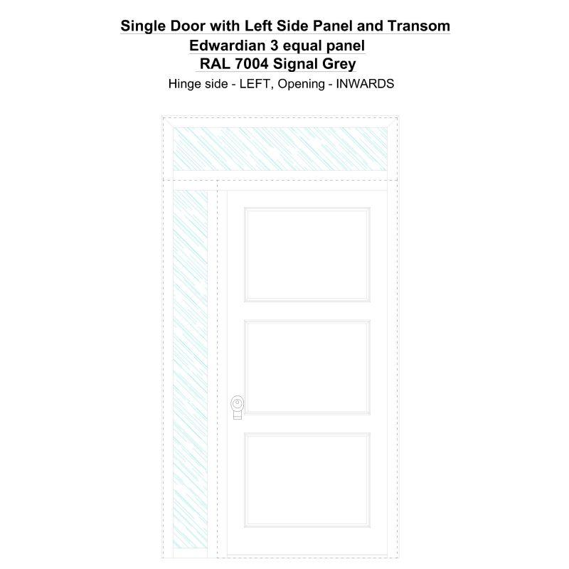 Sd1spt(left) Edwardian 3 Equal Panel Ral 7004 Signal Grey Security Door