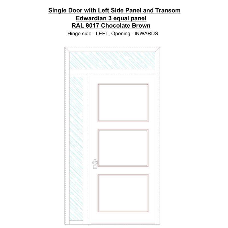 Sd1spt(left) Edwardian 3 Equal Panel Ral 8017 Chocolate Brown Security Door