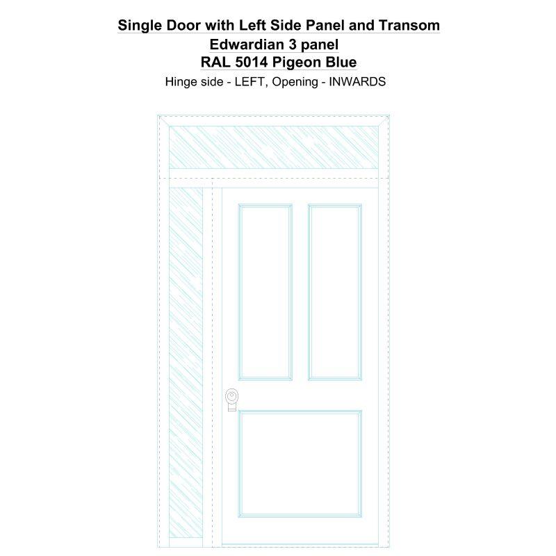 Sd1spt(left) Edwardian 3 Panel Ral 5014 Pigeon Blue Security Door