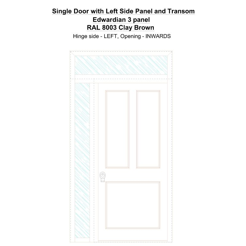 Sd1spt(left) Edwardian 3 Panel Ral 8003 Clay Brown Security Door
