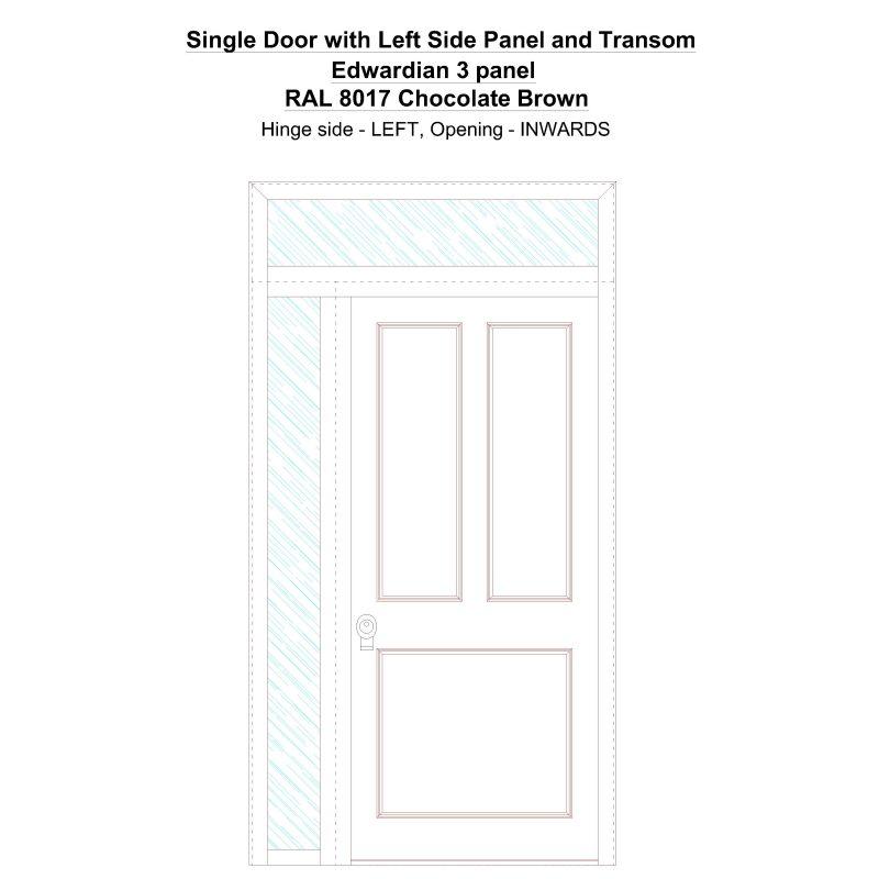 Sd1spt(left) Edwardian 3 Panel Ral 8017 Chocolate Brown Security Door