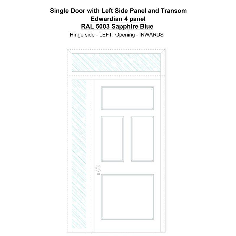 Sd1spt(left) Edwardian 4 Panel Ral 5003 Sapphire Blue Security Door
