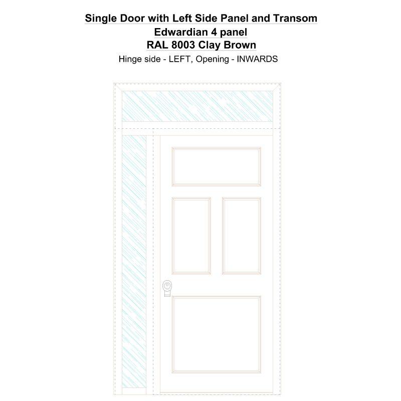 Sd1spt(left) Edwardian 4 Panel Ral 8003 Clay Brown Security Door