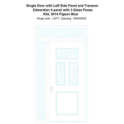 Sd1spt(left) Edwardian 4 Panel With 3 Glass Panes Ral 5014 Pigeon Blue Security Door