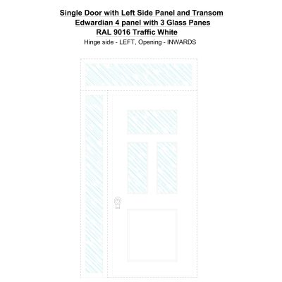 Sd1spt(left) Edwardian 4 Panel With 3 Glass Panes Ral 9016 Traffic White Security Door