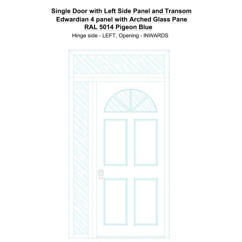 Sd1spt(left) Edwardian 4 Panel With Arched Glass Pane Ral 5014 Pigeon Blue Security Door