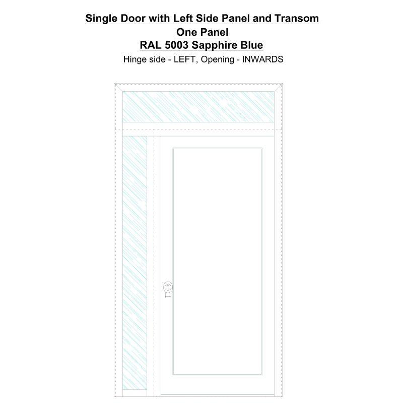 Sd1spt(left) One Panel Ral 5003 Sapphire Blue Security Door