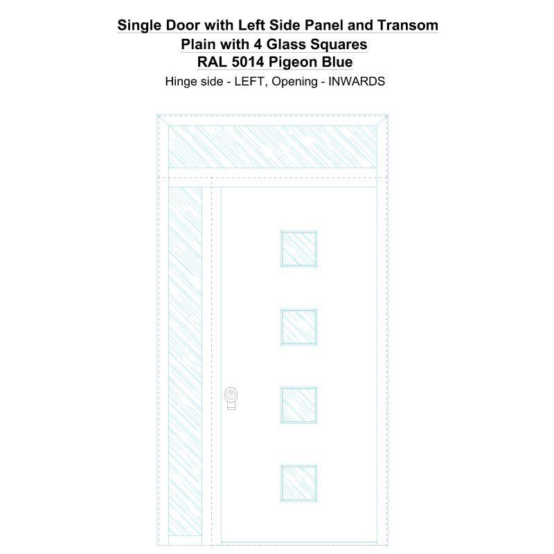 Sd1spt(left) Plain With 4 Glass Squares Ral 5014 Pigeon Blue Security Door