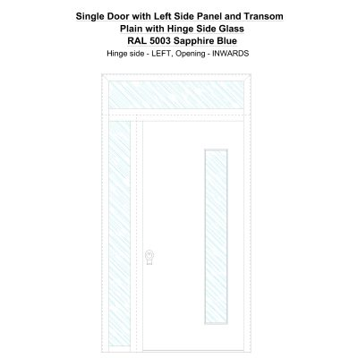 Sd1spt(left) Plain With Hinge Side Glass Ral 5003 Sapphire Blue Security Door