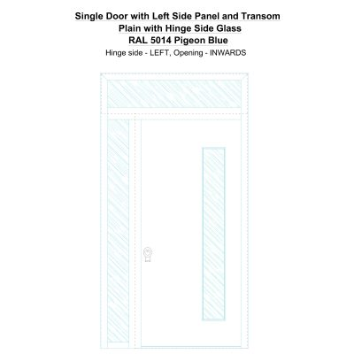 Sd1spt(left) Plain With Hinge Side Glass Ral 5014 Pigeon Blue Security Door