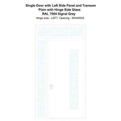 Sd1spt(left) Plain With Hinge Side Glass Ral 7004 Signal Grey Security Door